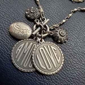 Silver plated charm necklace w/Swarovski Crystal